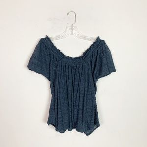 Free People | gauze off the shoulder top blue M